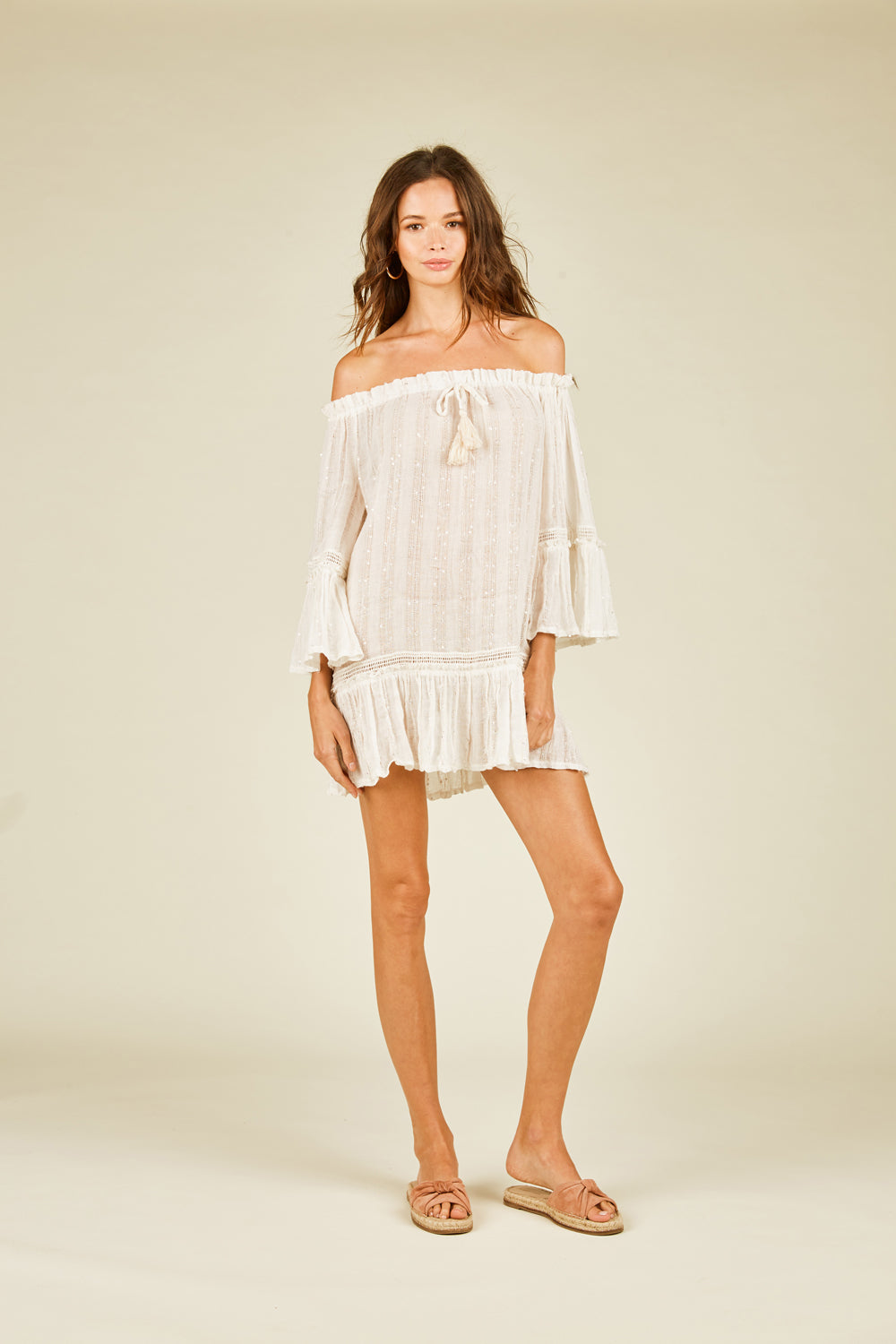 Ivory Sequin Off Shoulder Coverup