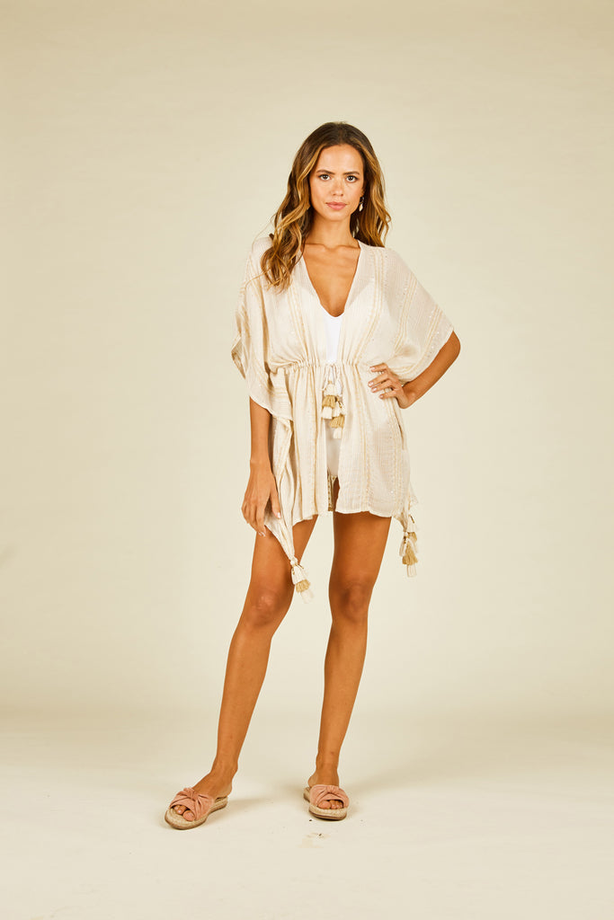 Metallic Stripe Drawstring Coverup