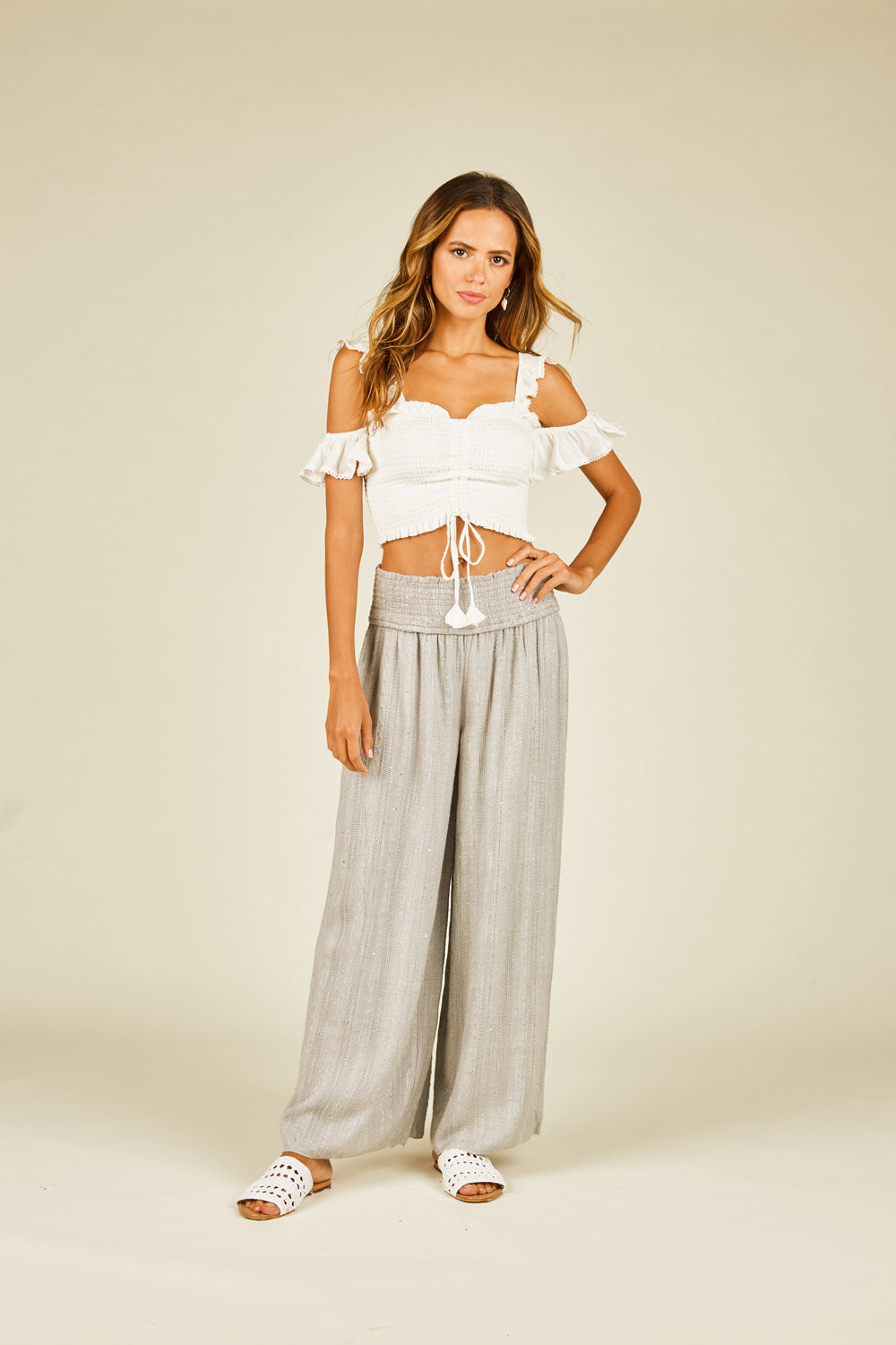 Soft Grey Sequin Wide Leg Pants