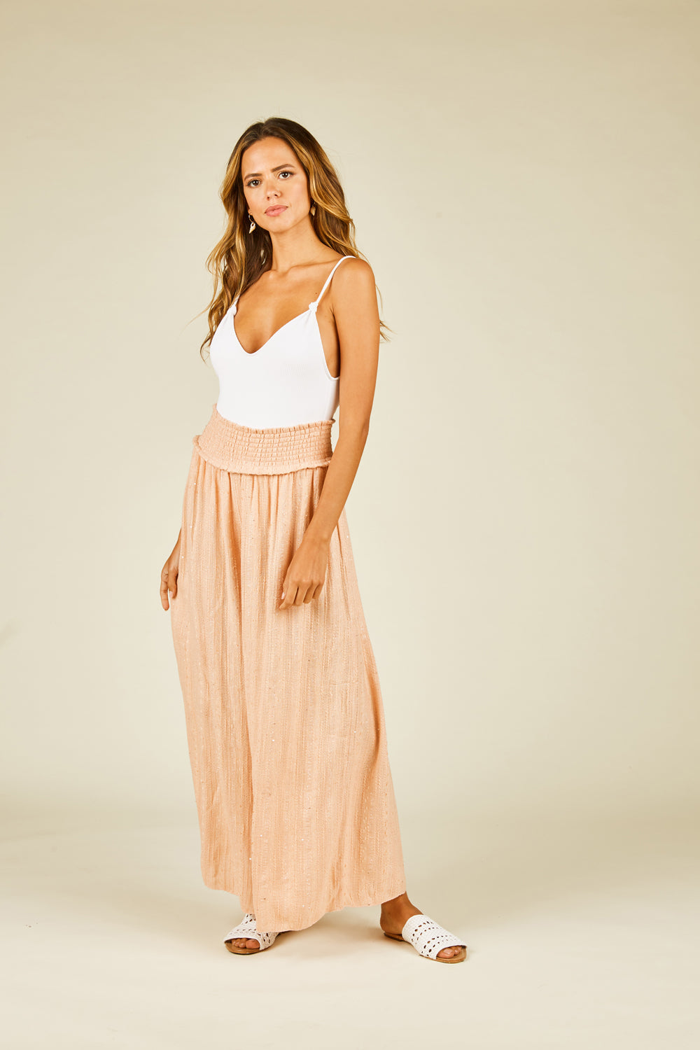 Soft Peach Sequin Wide Leg Pants