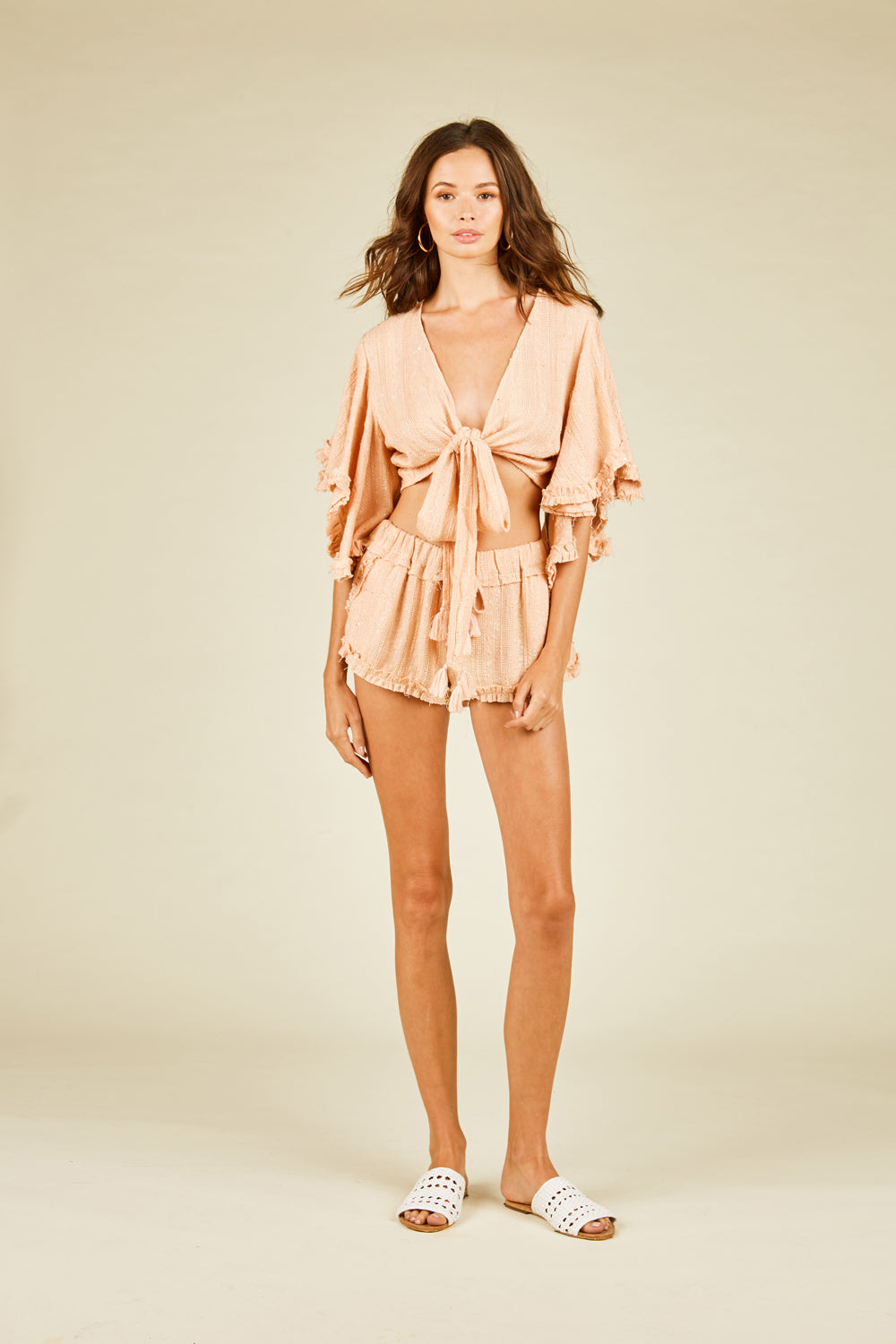 Soft Peach Ruffle Shorts