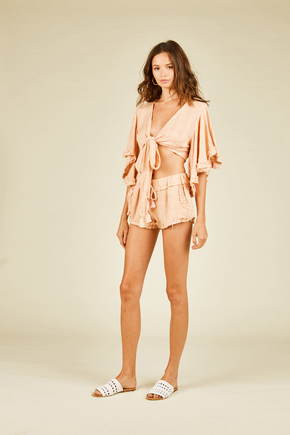 Soft Peach Sequin Striped Kimono Tie Top