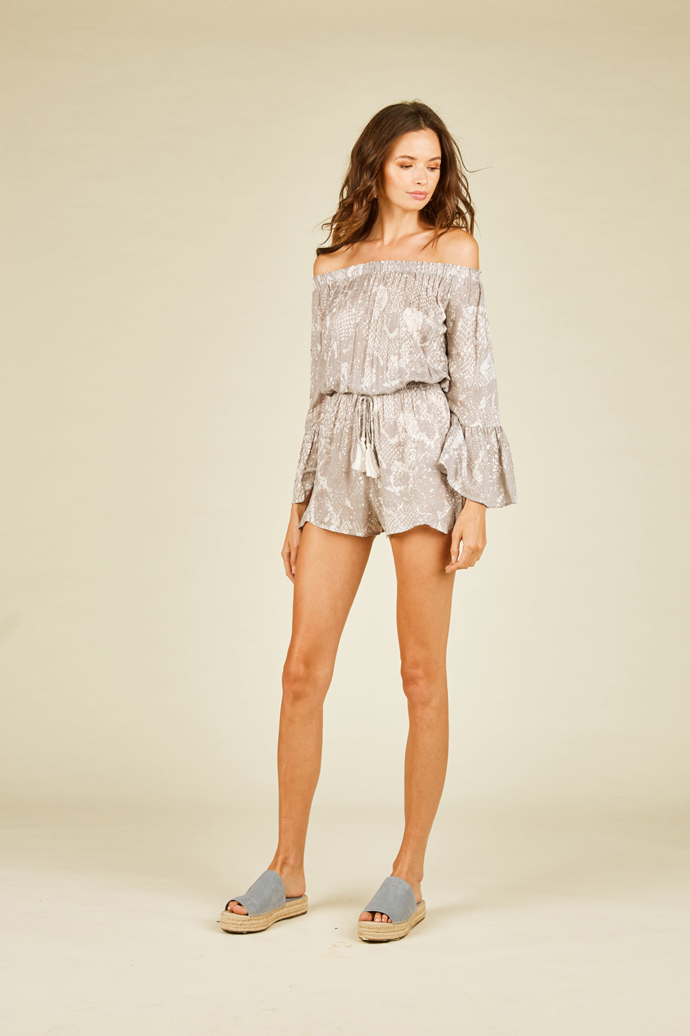 Pebble Grey Snakeskin Romper