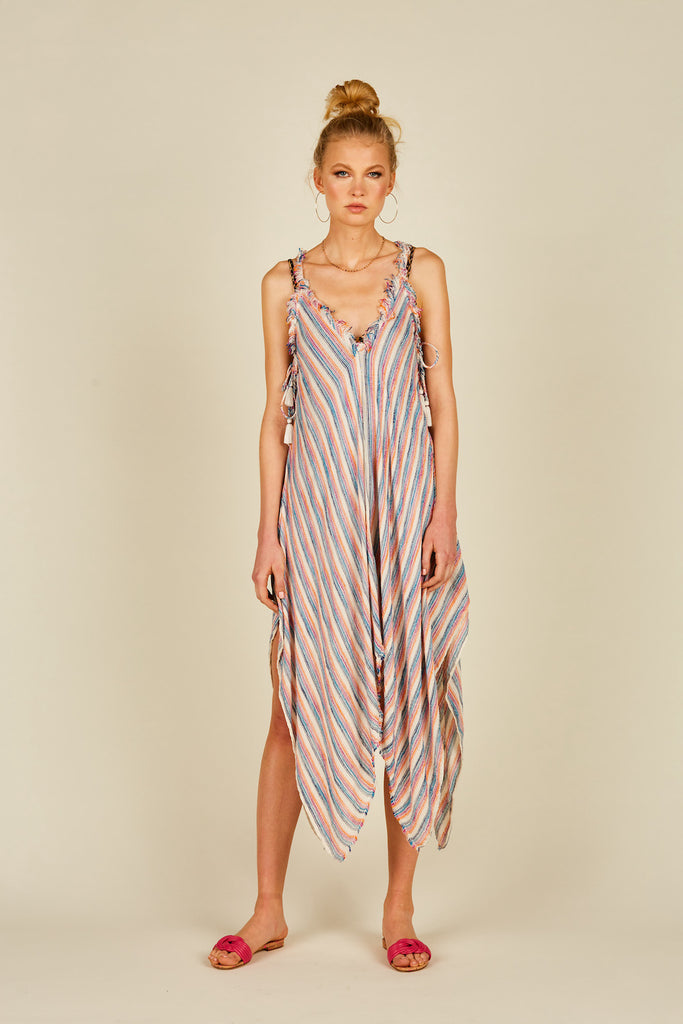 Multi Texture Stripe Tank Dress
