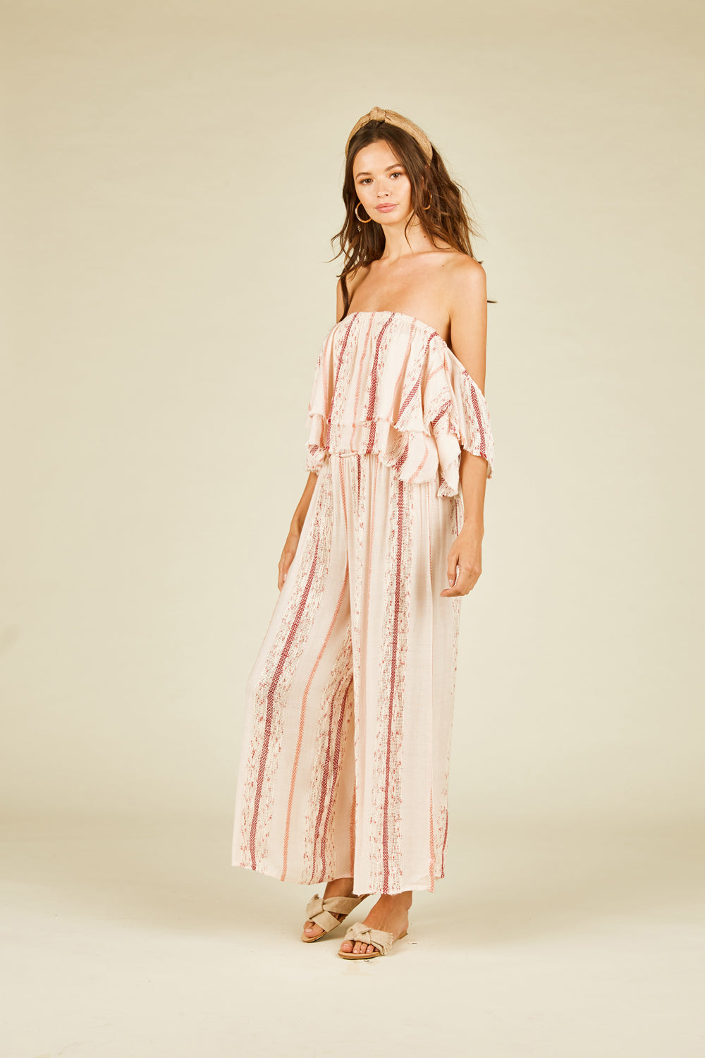 Coral Weave Stripe Off Shoulder Wide Leg Pants