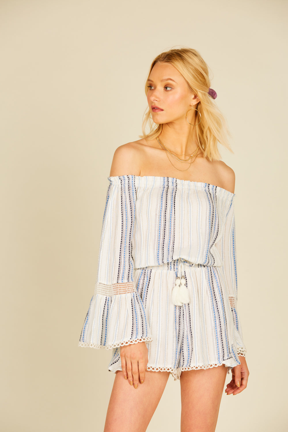 Texture Stripe Off Shoulder Romper