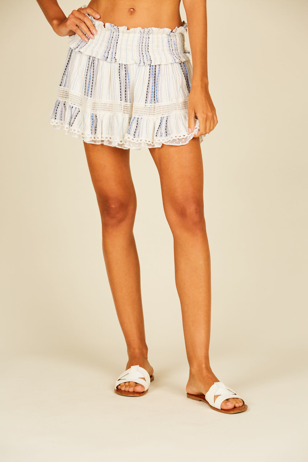 Texture Stripe Smocked Mini Skirt