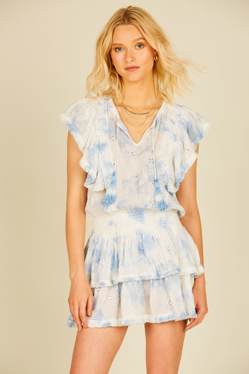Ivory/ Denim Tie Dye Eyelet Mini Dress