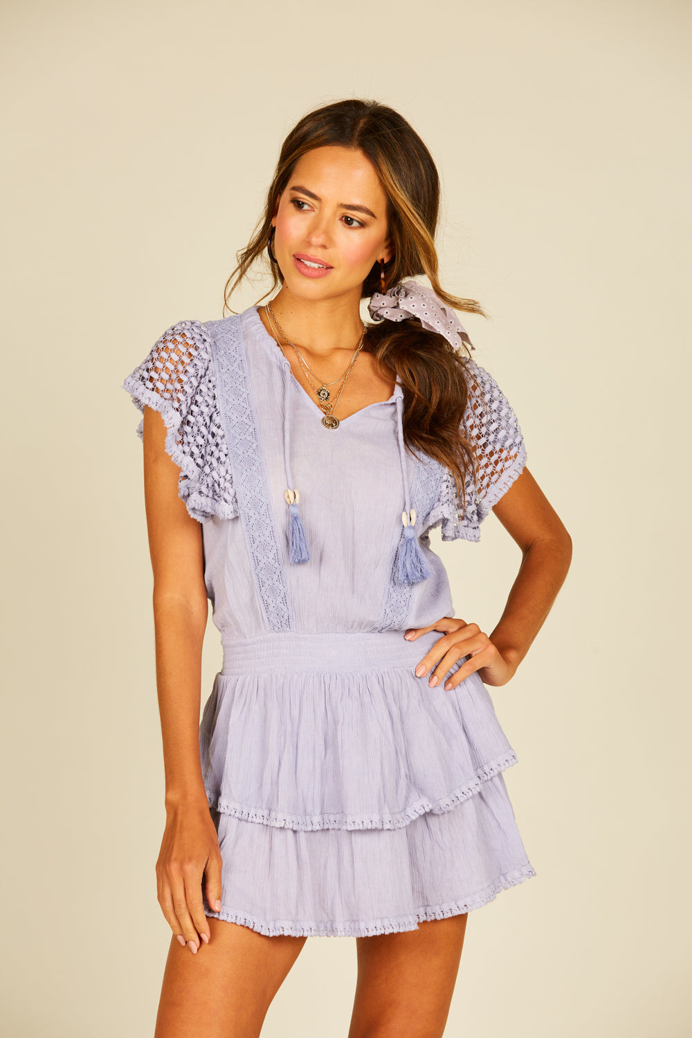 Lavender Eyelet Mini Dress