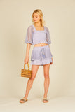 Lavender Eyelet Trim Layered Skirt