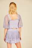 Lavender Eyelet Puff Sleeve Top