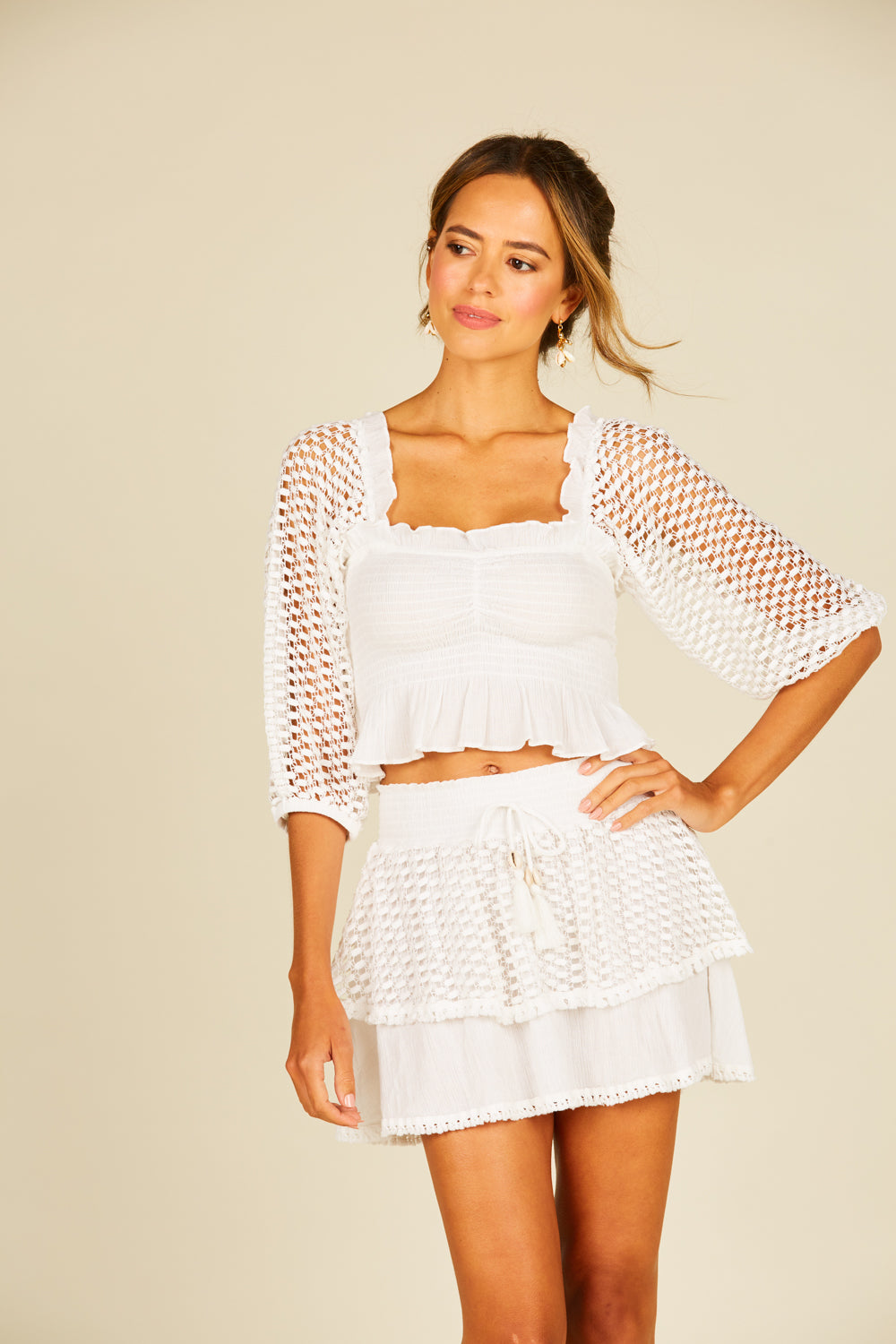 Ivory Eyelet Puff Sleeve Top