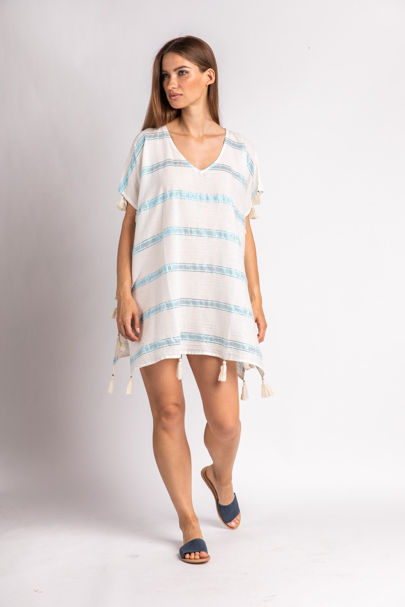 Blue Metallic Stripe Cover Up