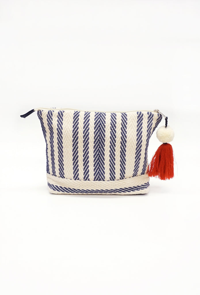 Navy Striped Cosmetic Bag