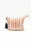 Red Striped Cosmetic Bag