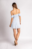 Summer Blue Embroidered Tie Front Mini Dress