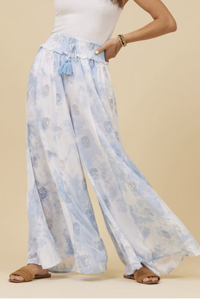 Blue Tie Dye Metallic Skull Wide Leg Pants