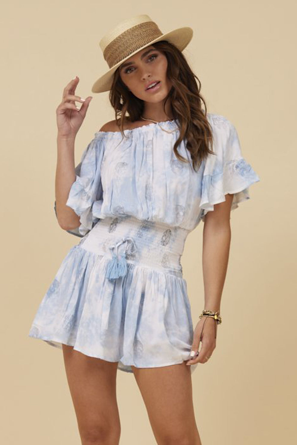 Blue Tie Dye Metallic Skull Off Shoulder Dress