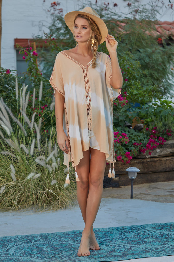 Tie Dye Trim Cover Up in Nude