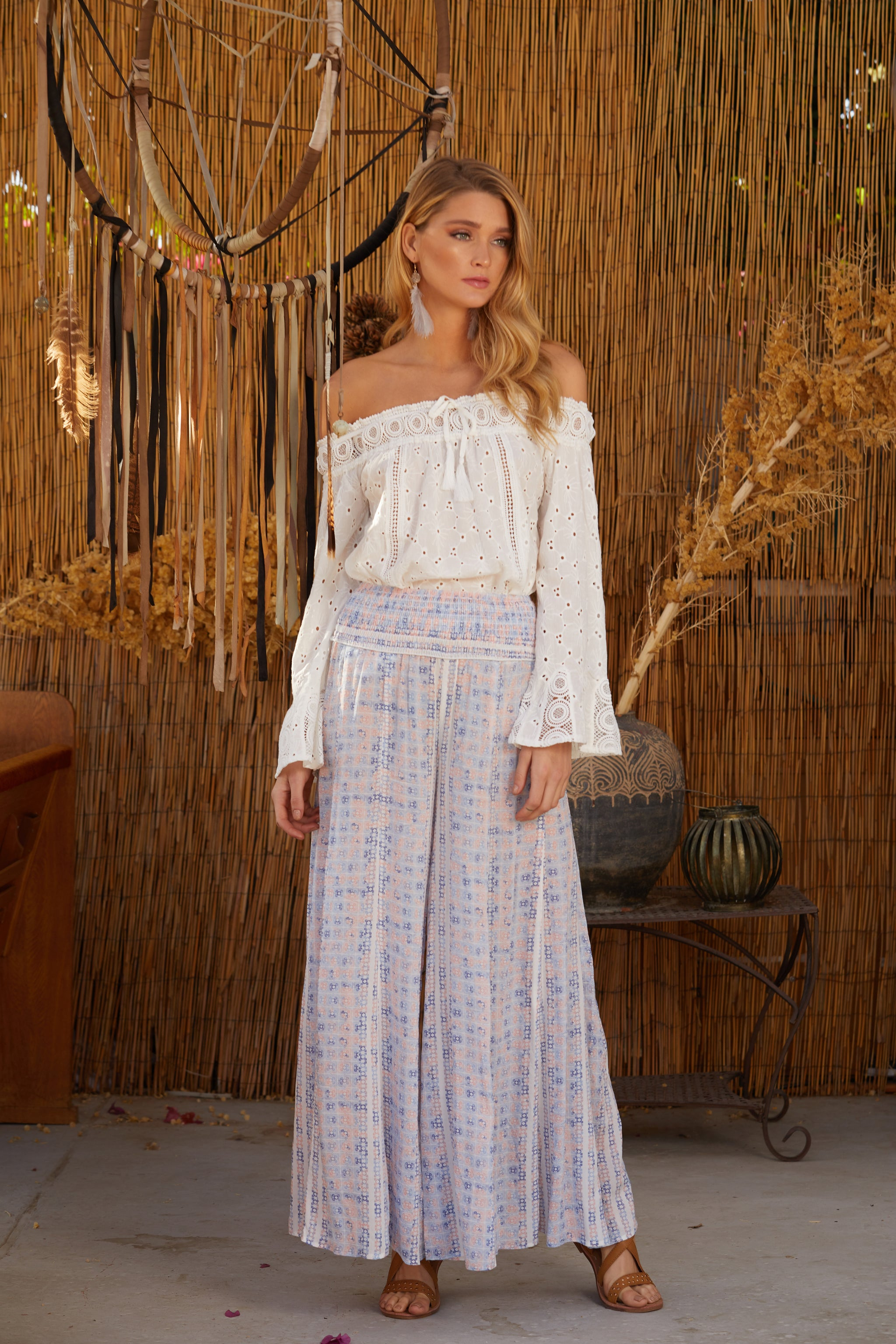 Stripe Print Wide Leg Pant in Pastel