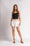 Eyelet Embroidered Smock Waist Shorts