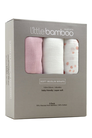Little Bamboo Soft Muslin Wraps 3pk - Dusty Pink