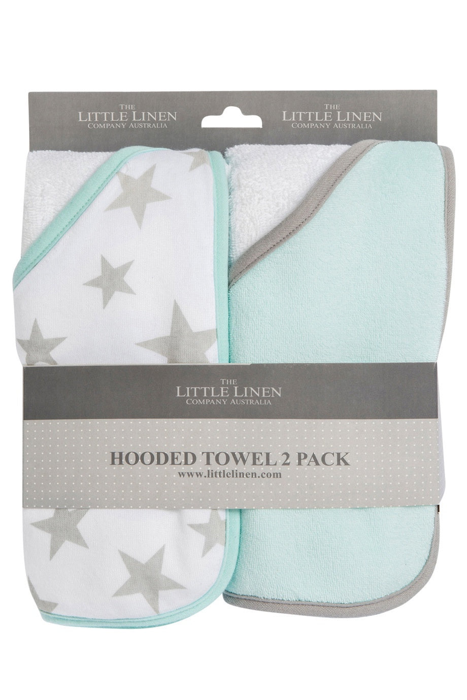 The Little Linen Co Hooded Towels 2pk - Starlight Mint