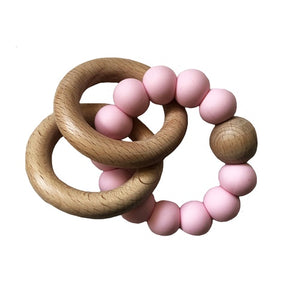 Alimrose Beechwood Teether Rings Set - Rosewater