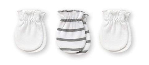 Playette Essential Newborn Mittens 3pk - Grey