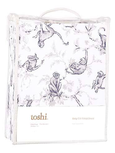 Toshi Cot Fitted Sheet Knit - Monkeys