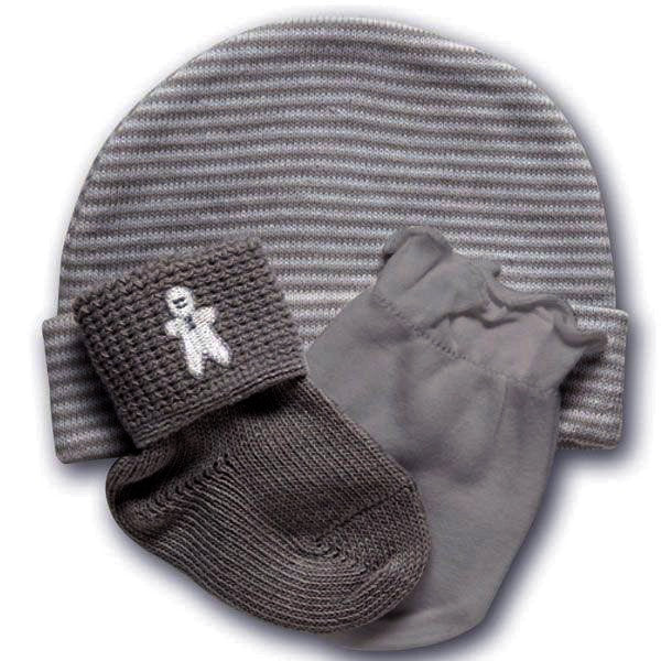 Playette Newborn Cap, Mitten & Sock Gift Set - Grey