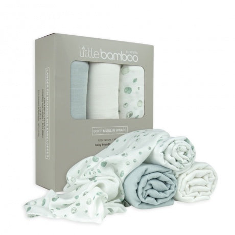 Little Bamboo Soft Muslin Wraps 3pk