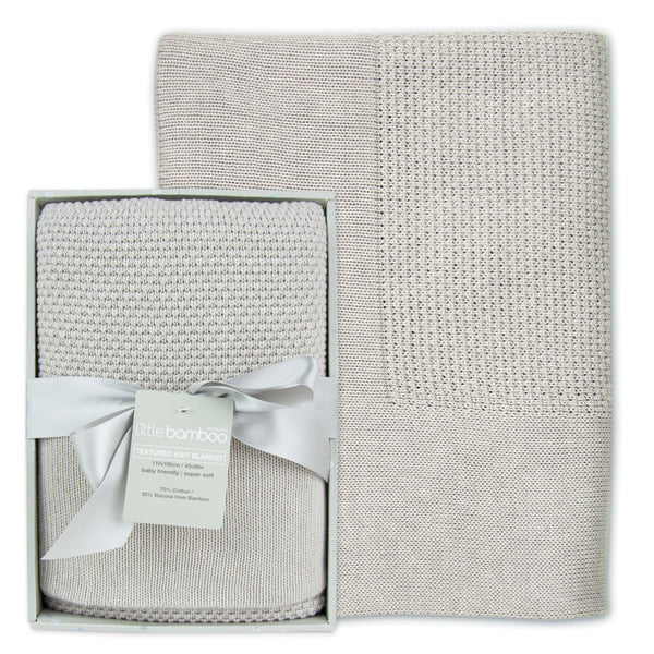 Little Bamboo Textured Knit Blanket - Silver