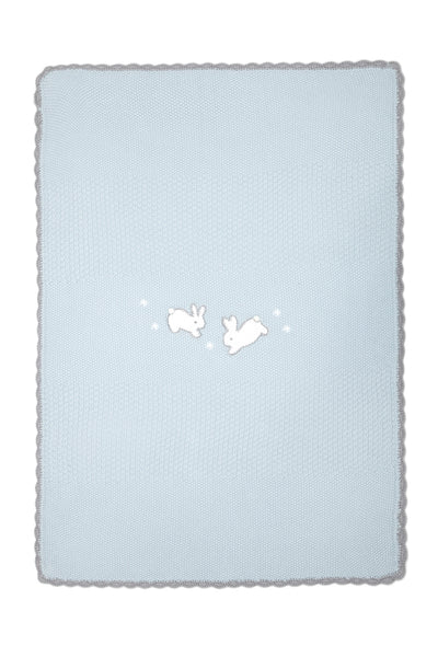 Mamas & Papas Knitted Blanket - Welcome to the World Blue