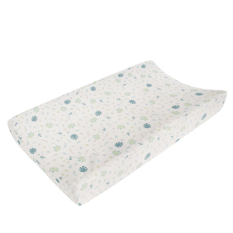 Living Textiles Organic Muslin Change Pad Cover - Banana Leaf