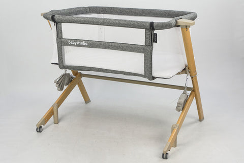 BabyStudio Bedside Sleeper - Grey and Wood Tone