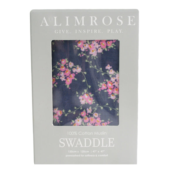 Alimrose Muslin Swaddle - Wildflower Navy
