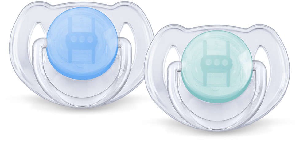 Avent Classic Soother Translucent 6-18mths 2pk