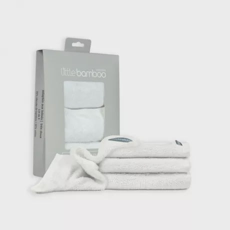 Little Bamboo Towelling Wash Cloths 3pk