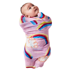 Kip & Co Over the Rainbow Pink Bamboo Baby Swaddle