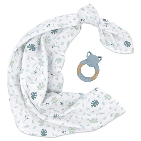 Living Textiles Organic Muslin Swaddle & Teether - Banana Leaf