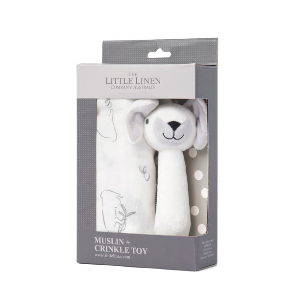 The Little Linen Co - Muslin Wrap & Crinkle Toy Gift Set