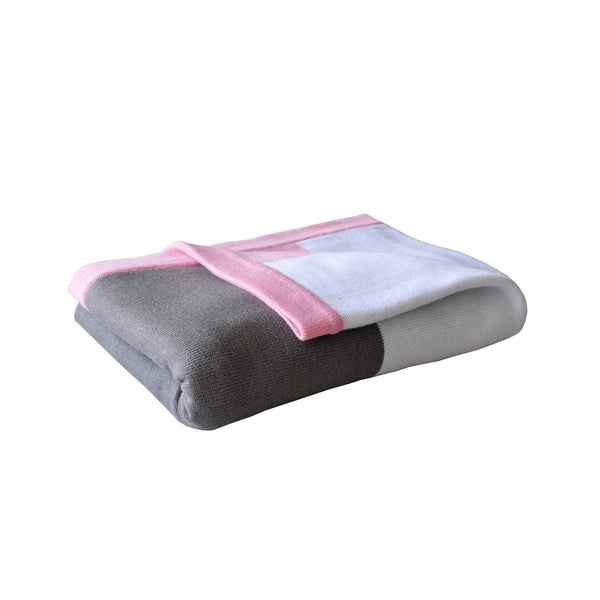 Little Turtle Baby Blanket - Pink White & Grey