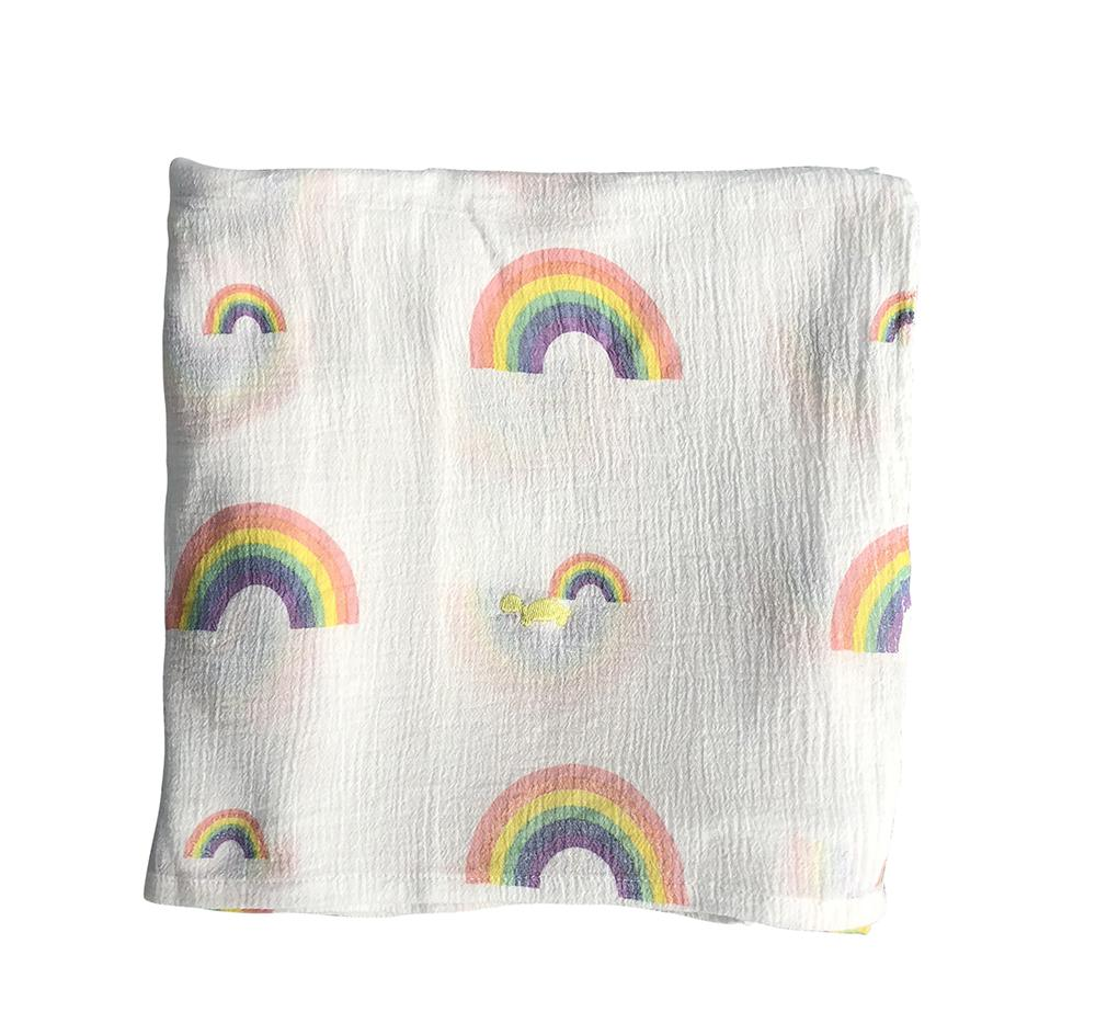 Little Turtle Baby Stretch Muslin Wrap Hearts & Rainbows
