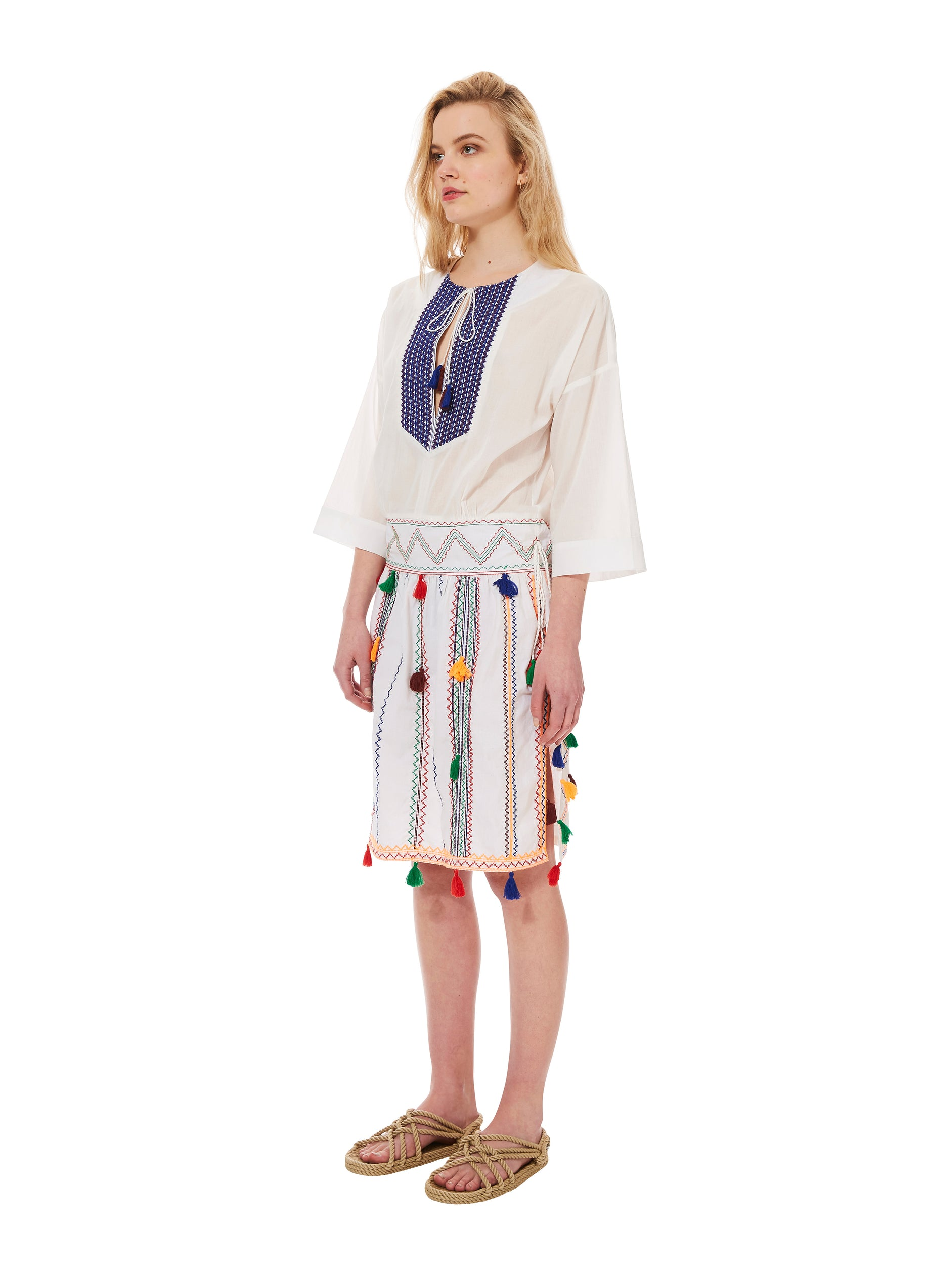 TASSEL EMBROIDERED TUNIC dress