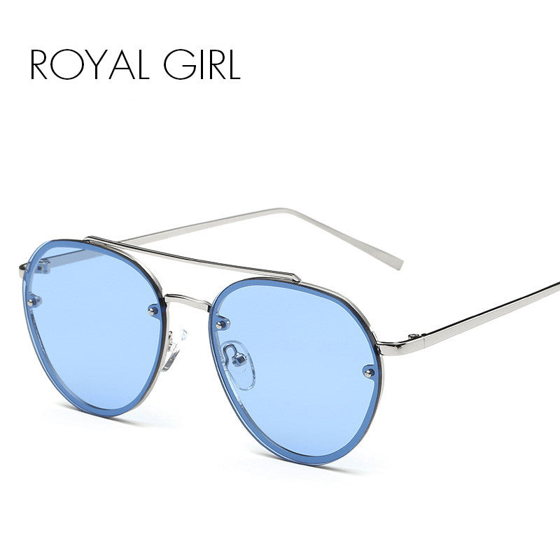 ROYAL GIRL 2017 Brand Designer Women Round Sunglasses Metal Retro Glasses Shiny tinting Lens SS422