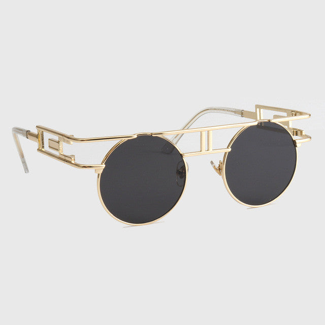 ROYAL GIRL Quality Metal Frame Steampunk Sunglasses Women Brand Designer Round Men Gothic Sun glasses Vintage Eyeglasses ss211
