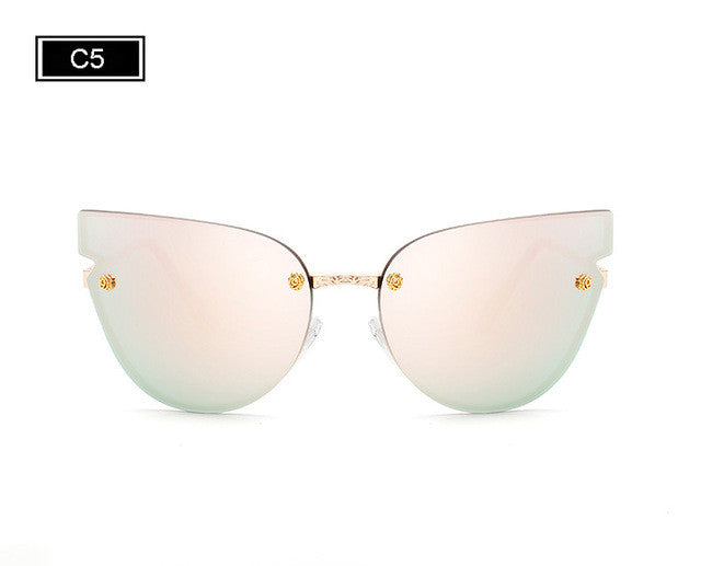 ROYAL GIRL Women Cat Eye Sunglasses Fashion Lady Brand Designer Sunglasses Summer Mirror Metal Shades