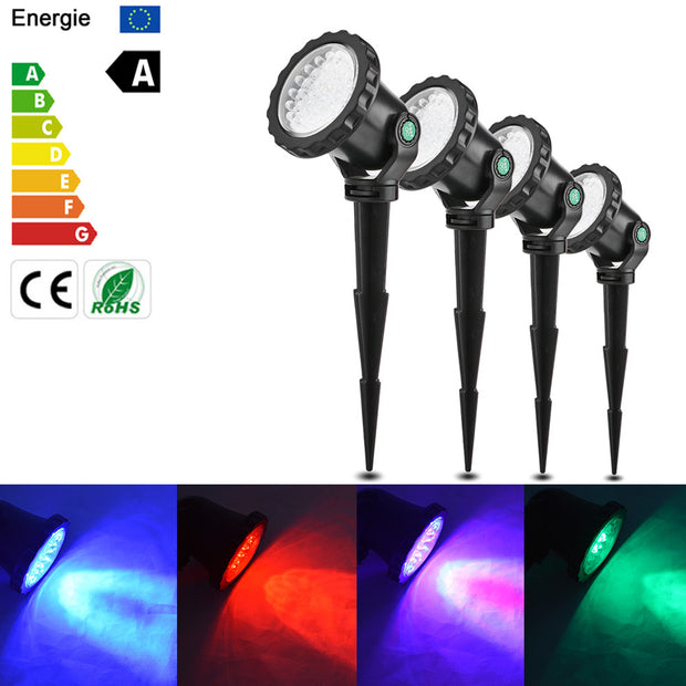 EU Plug 10W 4Pcs RGB LED Submarine Lights Underwater Projector Spotlight Lamp IP68 Waterproof Remote Control 4 Light Modes for Garden Landscape Park Rockery Pool Pond Corridor Fish TaAquarium Decoration