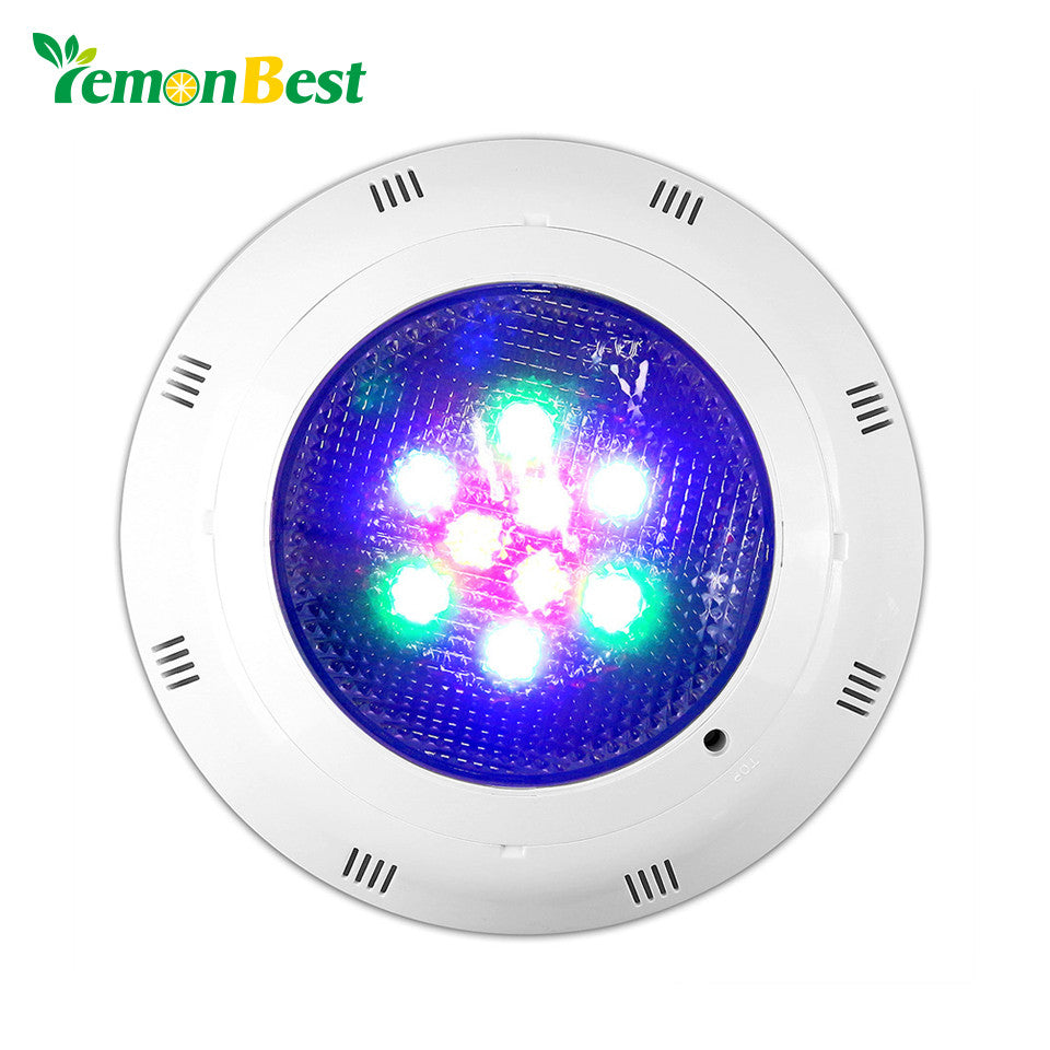 LemonBest AC 12V 9W RGB Round LED Underwater Light IP67 Swimming Pool Fountain Spotlight Lamp with Remote Control